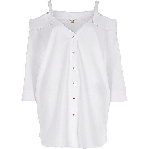 White cold shoulder oversized shirt