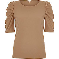 Beige ribbed puff three quarter sleeve top