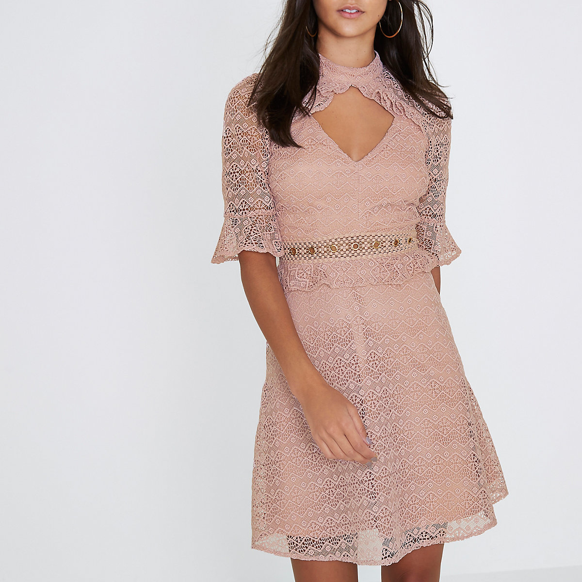Light pink lace frill waisted dress