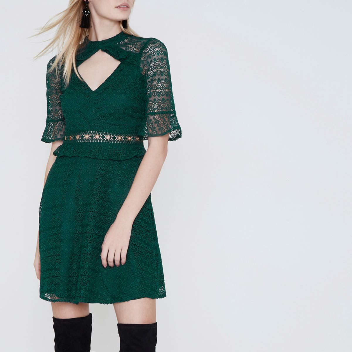 Dark green lace frill waisted dress