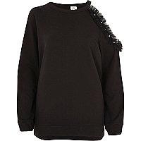 Black one shoulder pearl sweatshirt