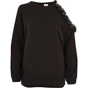 Schwarzes, perlenverziertes Sweatshirt