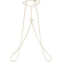 Gold tone pave circle body chain harness