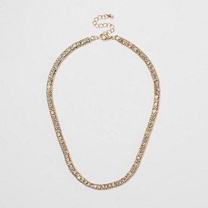 Gold tone rhinestone necklace