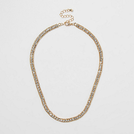 Gold tone diamante necklace