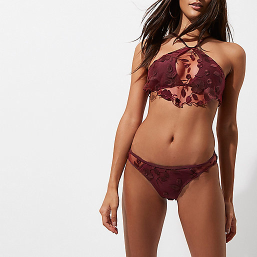 Burgundy floral mesh low rise bikini bottoms