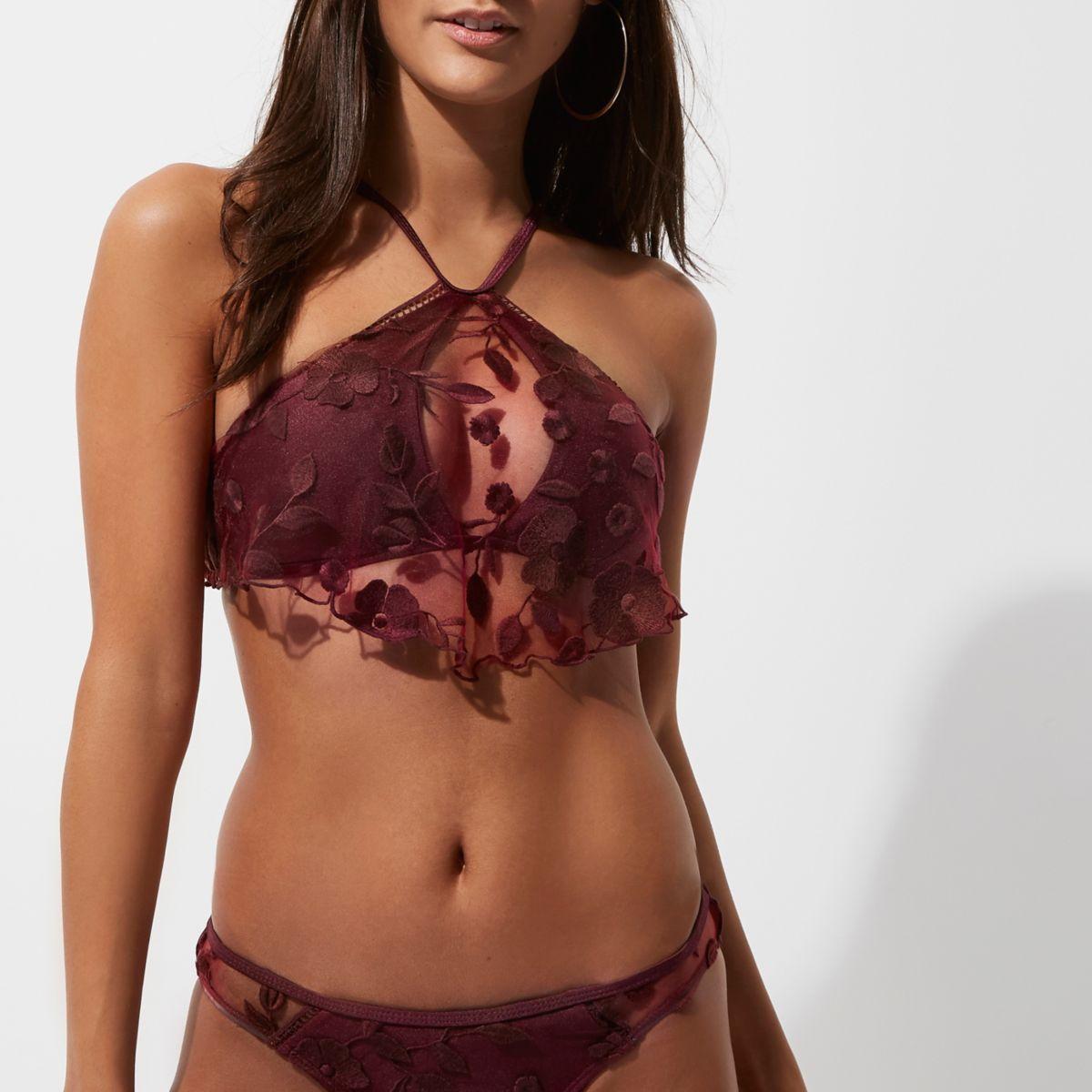 Burdundy floral mesh high neck bikini top
