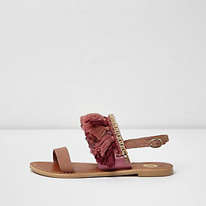 Roze leren verfraaide sandalen met kwastjes