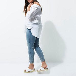RI Plus - Alannah - Middenblauwe gebloemde skinny jeans