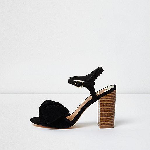 Black bow front block heel sandals