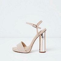 Pink electroplated heel platform sandals