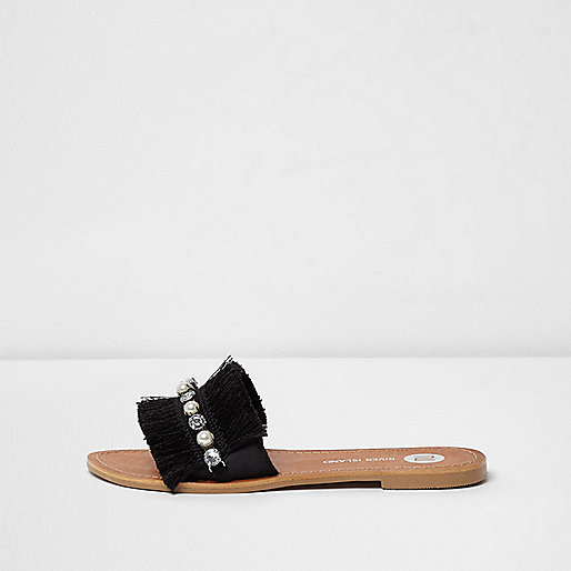 Black fringe embellished sandals