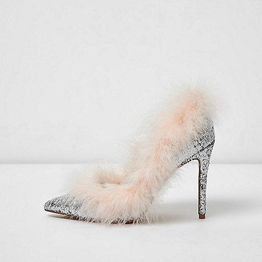Silver glitter faux fur trim trim court shoes