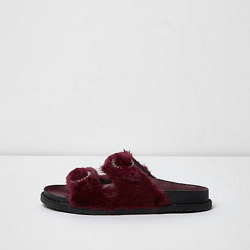 Dark red faux fur strap sandals