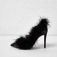 Black floral jacquard feather court shoes