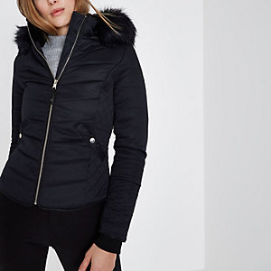 Navy quilted fur trim hooded jacket