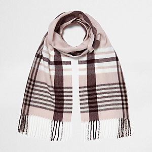 Pink and oxblood check scarf