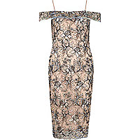 Pink floral embroidered bardot bodycon dress