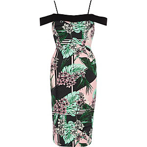 Green tropical bardot bodycon midi dress