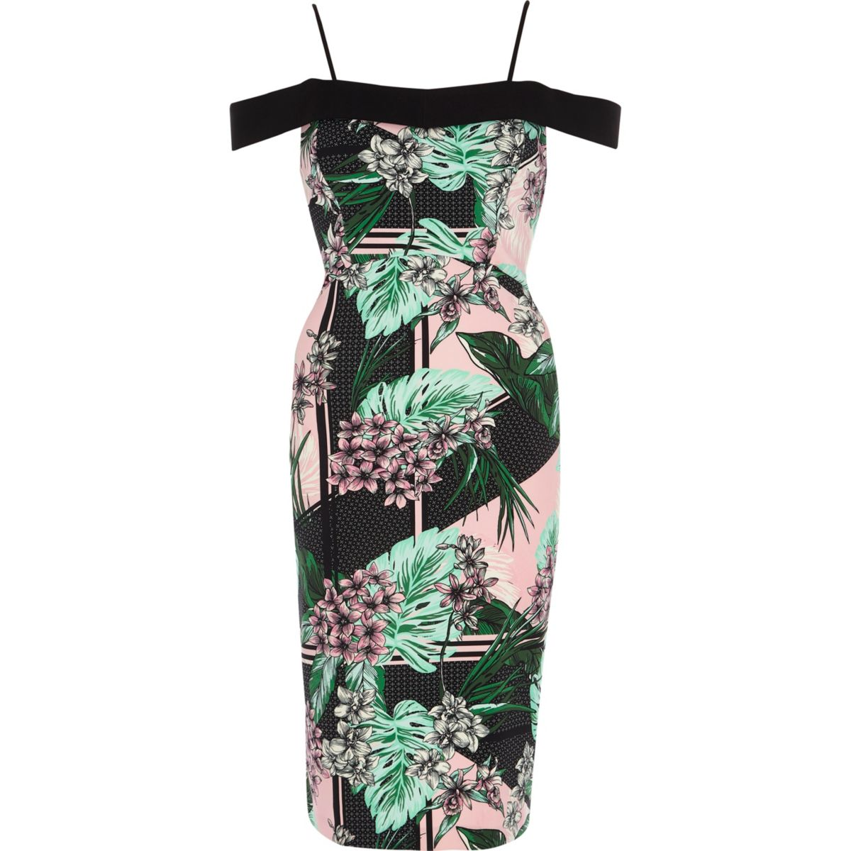 Green tropical bardot bodycon midi dress