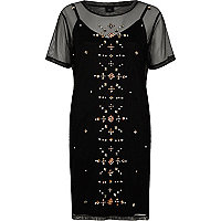 Black mesh studded T-shirt dress