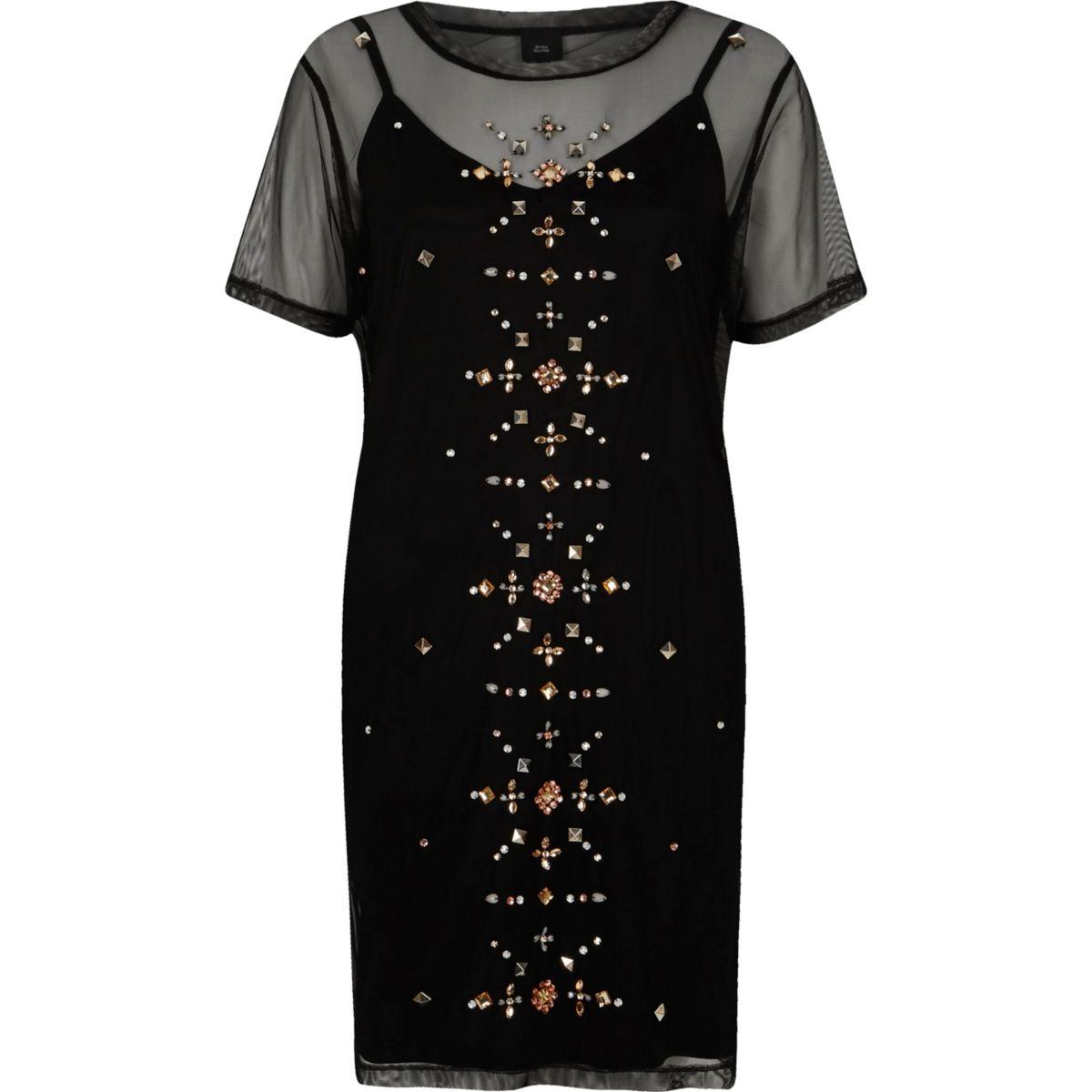 Zwarte T-shirtjurk met mesh en studs