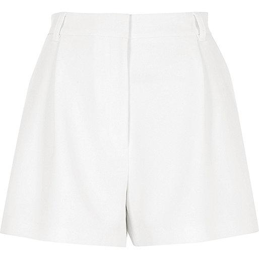 White high waisted smart shorts