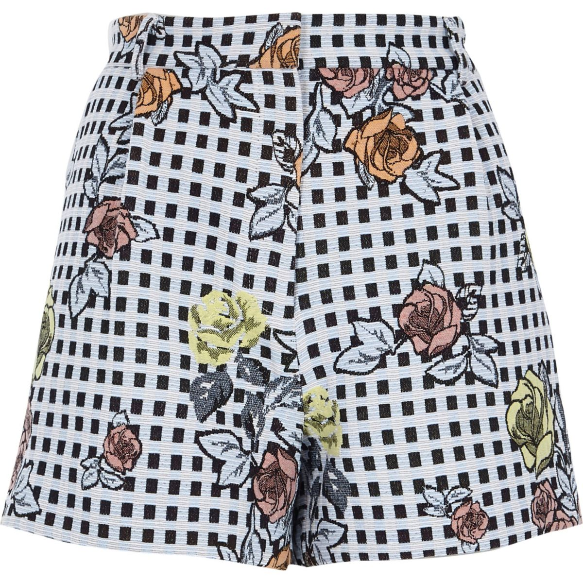 Blue check floral embroidered shorts