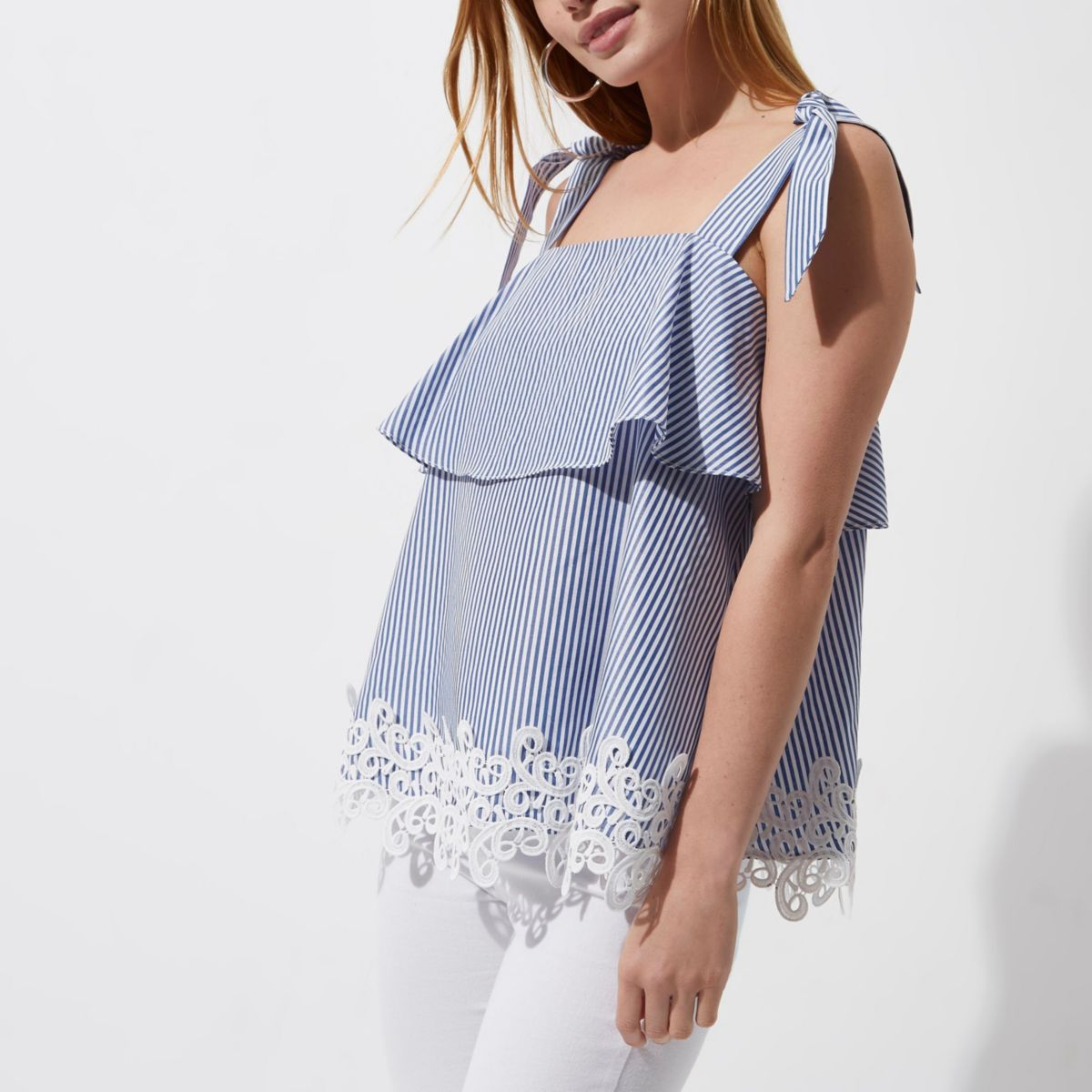 Petite blue stripe lace trim tie strap top