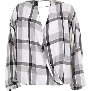 Grey check wrap long sleeve top