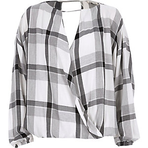 Grey check wrap long sleeve top