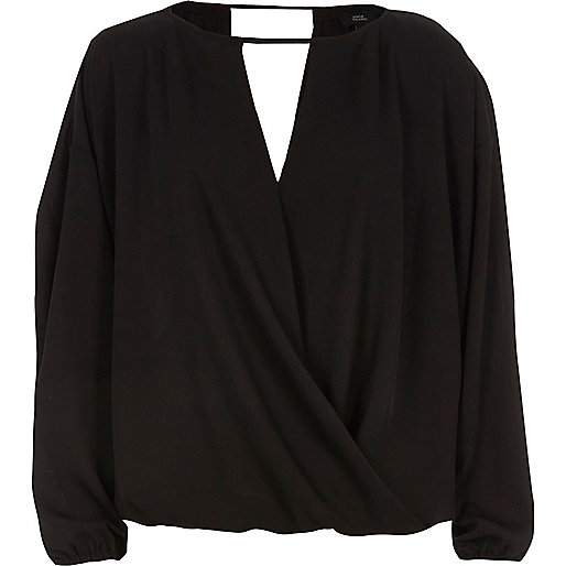 Black wrap long sleeve top
