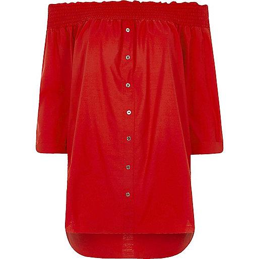 Red shirred bardot shirt