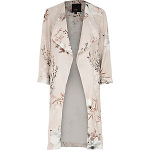 Grey floral print side split duster coat