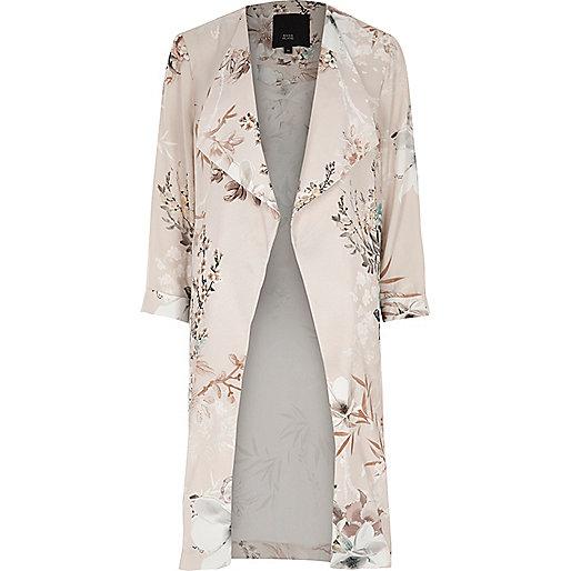 Grey floral print side split duster coat