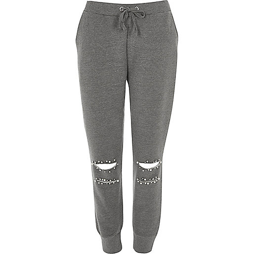 Grey faux pearl ripped knee joggers
