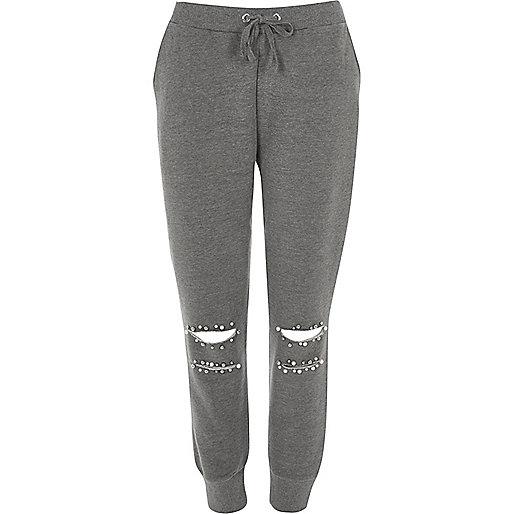 pantalon de jogging gris d chir orn de perles pantalons de surv tement pantalons femme. Black Bedroom Furniture Sets. Home Design Ideas