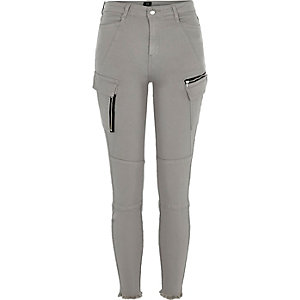 Grey skinny fit combat trousers