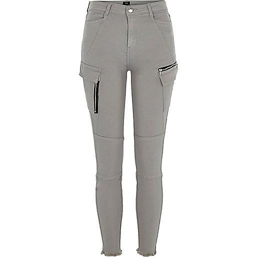 Grey skinny fit combat pants