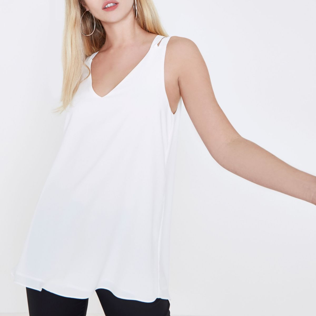 White double strap cross back vest