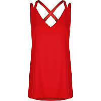 Red double strap cross back vest