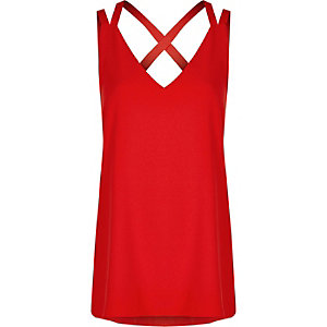 Red double strap cross back tank