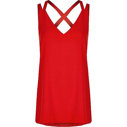 Red double strap cross back vest