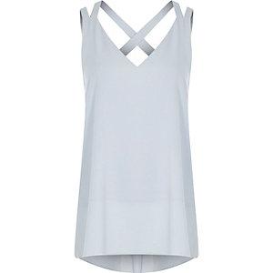 Light blue double strap cross back vest
