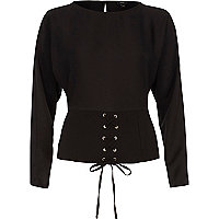 Black corset front long sleeve top
