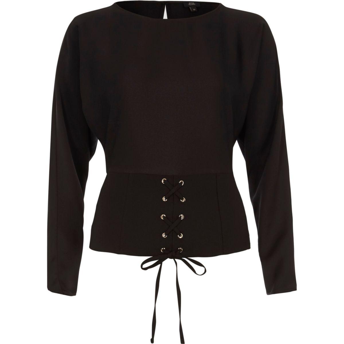 Zwarte top met lange mouwen en corsetdetail voor