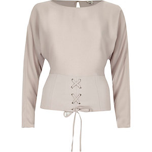 Light grey corset front long sleeve top
