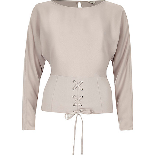 Light grey corset front long sleeve top