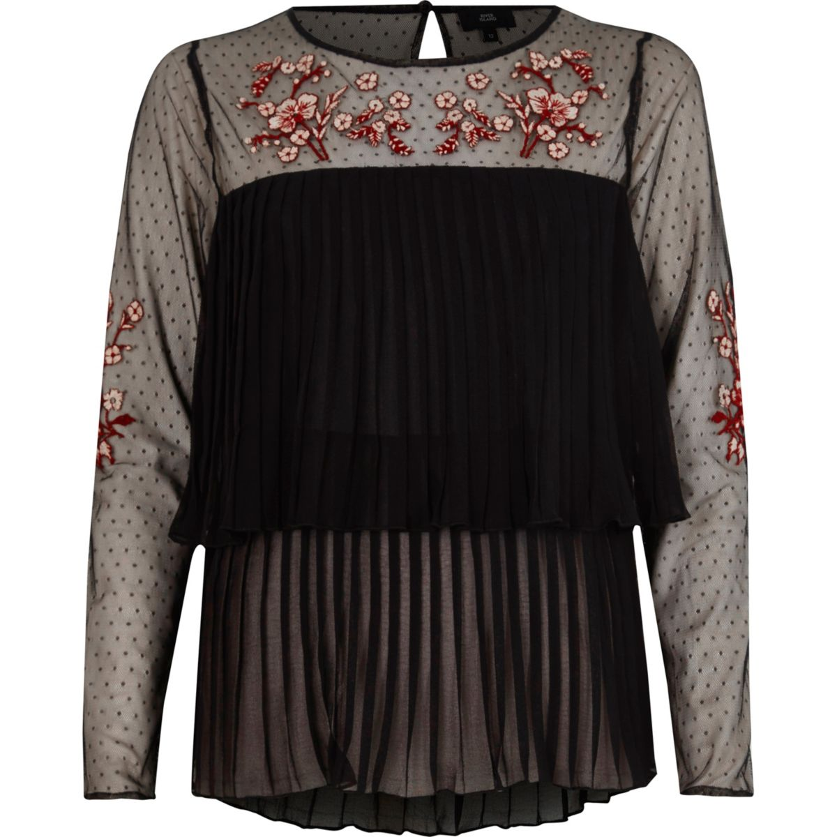 Black pleated floral embroidered mesh top