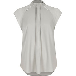 Light grey high neck pleat front top